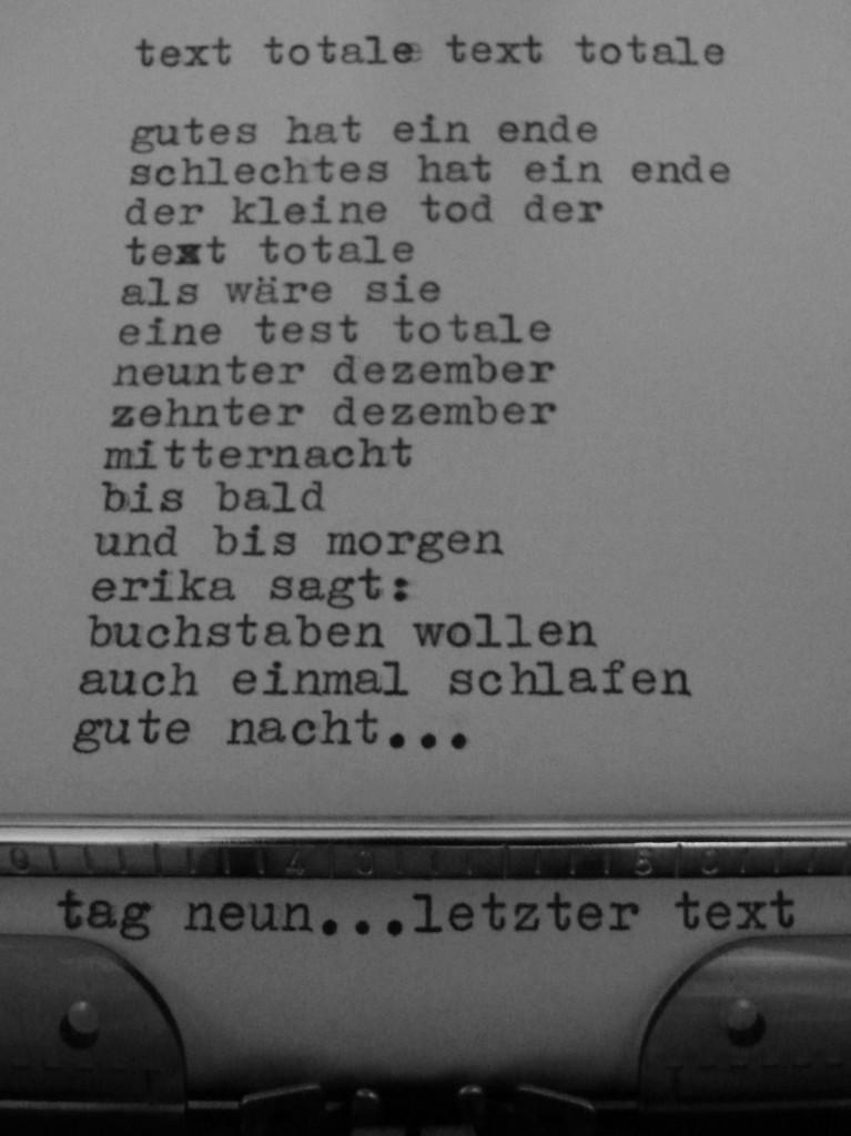 tag neun - letzter text